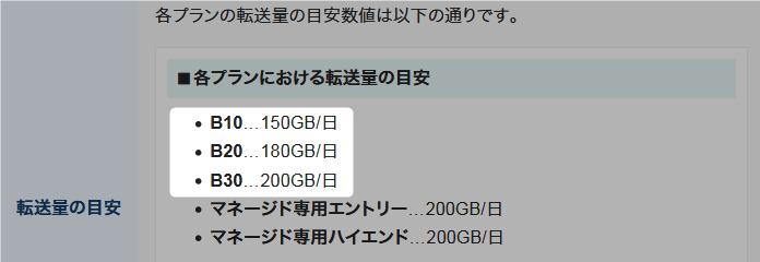 エックスサーバービジネス(B10.B20.B30)転送量の目安