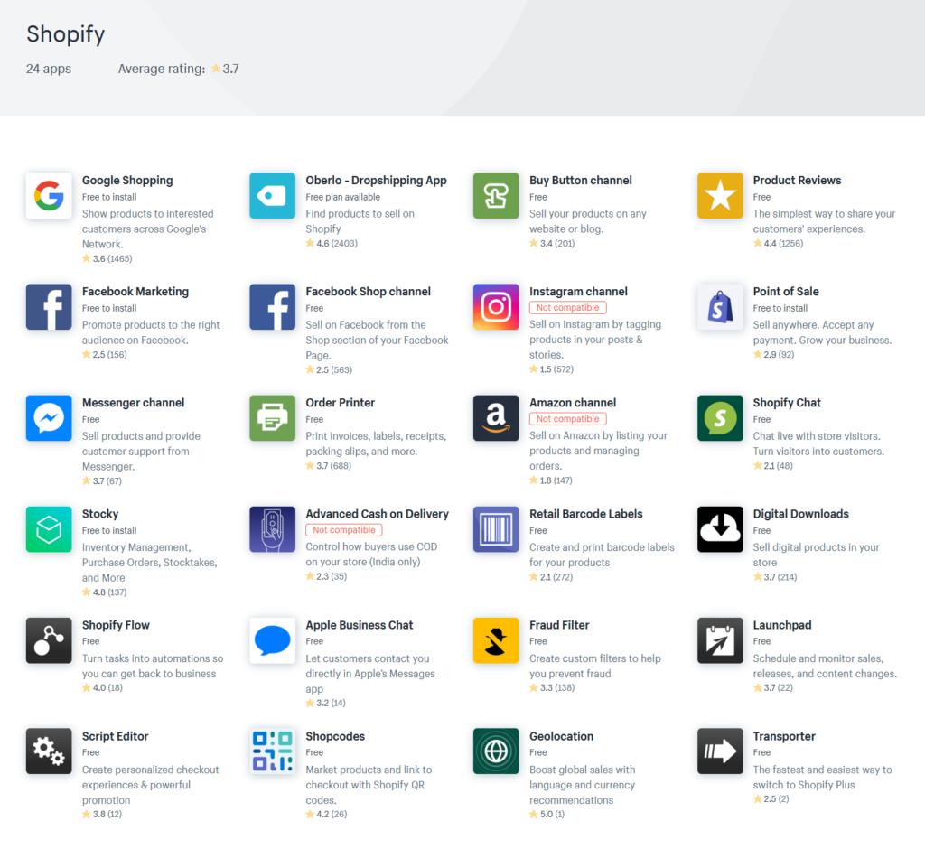 Shopifyが提供しているアプリは全部で24種類でした。