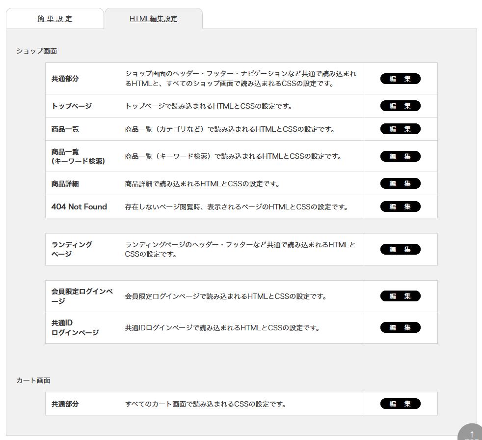 らくうるカートのHTML編集