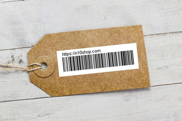 商品ラベルにバーコードをつけたイメージ
