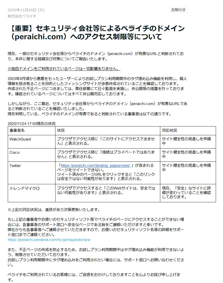 ペライチの無料ドメインがフィッシングサイトで悪用されて、制限を掛けれれているようです。